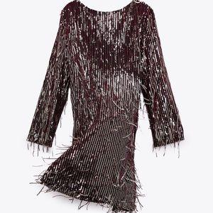 Fringed sequin mini dress